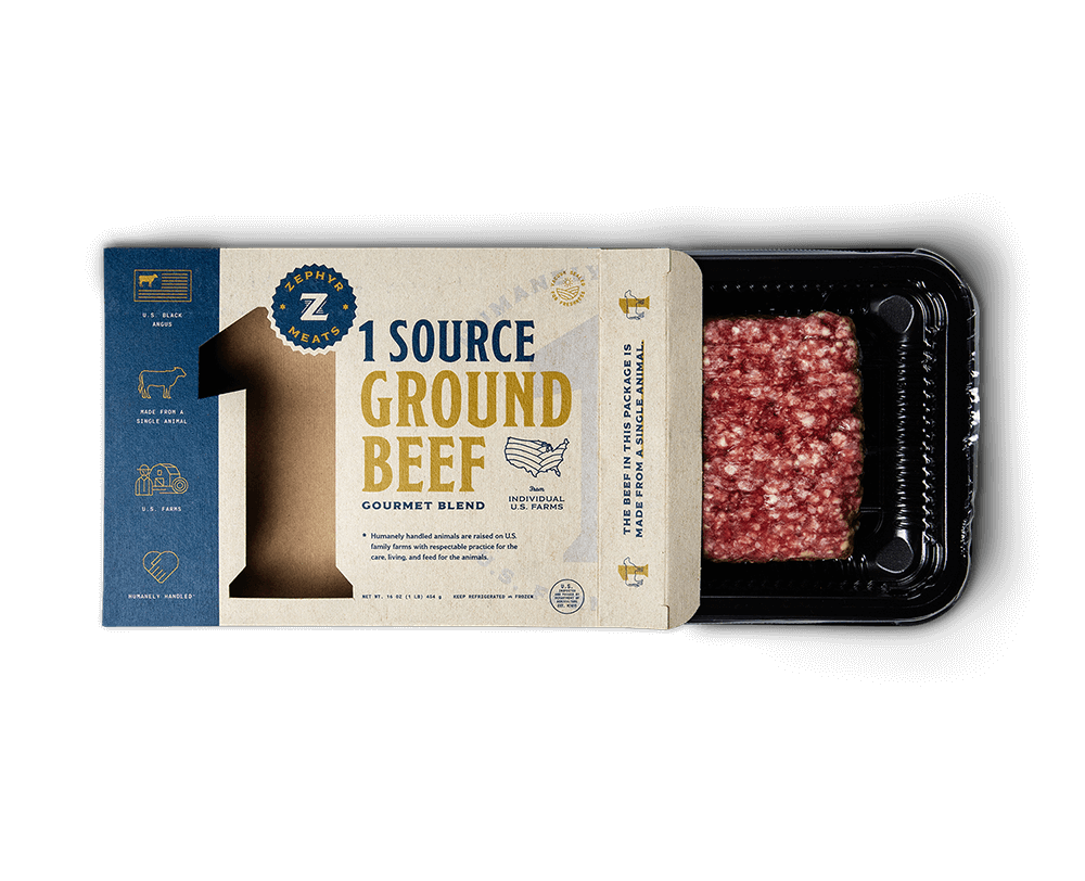 1 source ground beef box front open