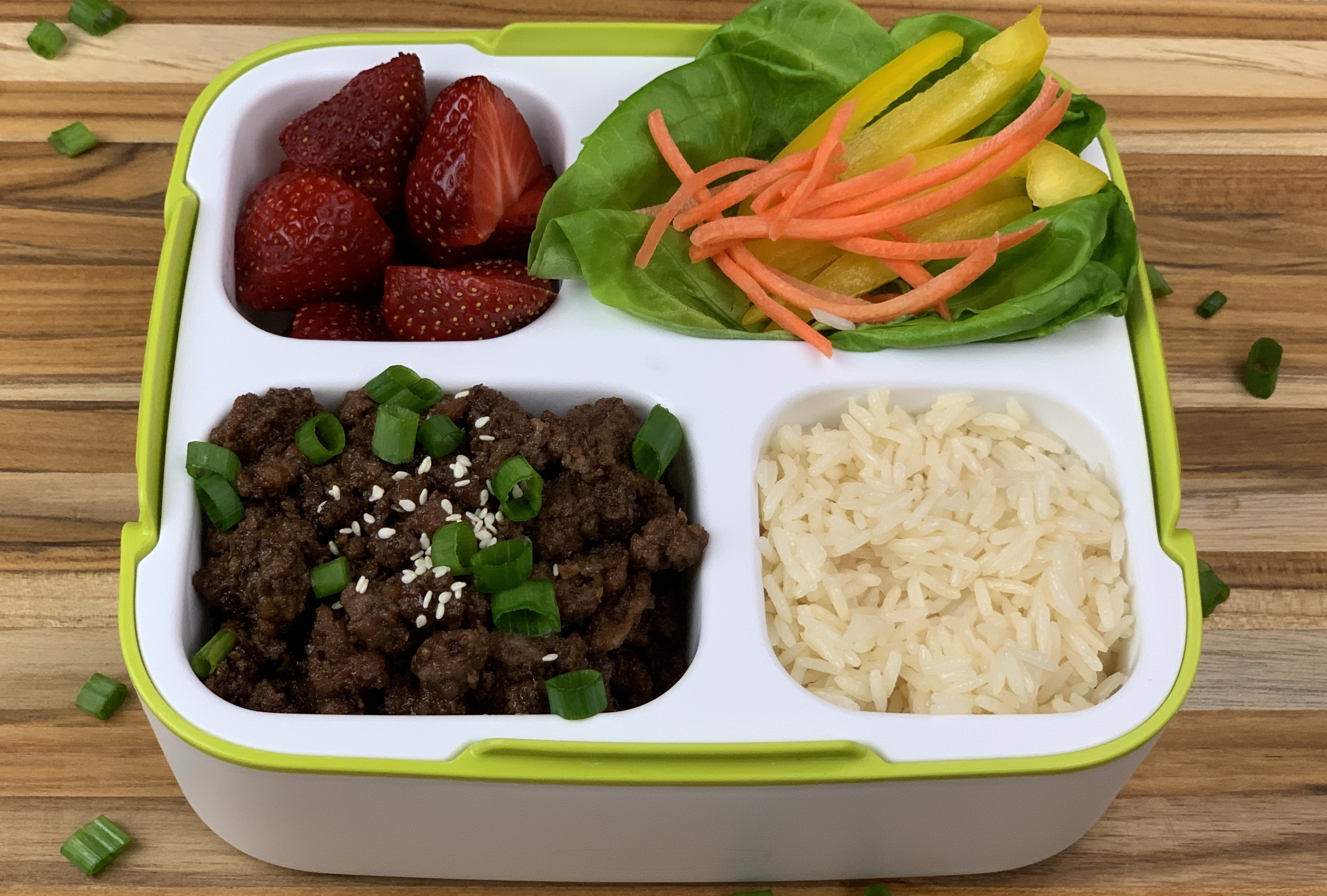 Full Bento Box with Fruits, Veggies, Rice and Asian-Inspired Beef
